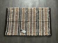 Microfibre Chenille Bath Mat - Brown Beige White Stripes - 50 x 80cm - Brand New