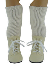 Cream 1800 Boots + Thigh High Socks made for American Girl Samantha Doll Clothes