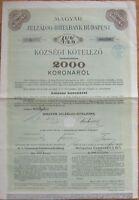 Budapest, Hungary - 2000 Korona Large 1909 Bank Stock/Bond Certificate