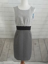 Tahari Black White Polka dots Fit Dress Sz 8 lined blue