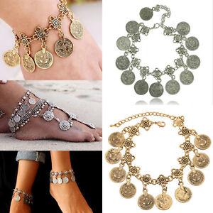 Tribal Ethnic Silver Coin Tassel Gypsy Festival Turkish Anklets Bracelet Jewelry