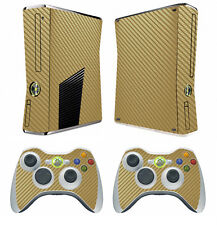 Golden Carbon Fiber Decal Skin Sticker for Xbox360 slim and 2 controller skins