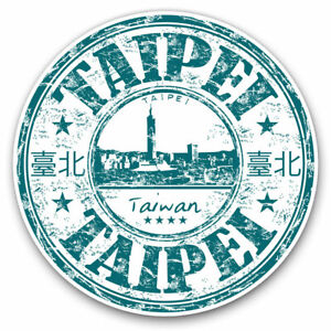 2 x Vinyl Stickers 30cm - Taipei Taiwan Travel Stamp  Cool Gift #5745