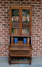 Antique English Tiger Oak Leaded Wavy Glass Fall Front Secretary Bookcase Desk