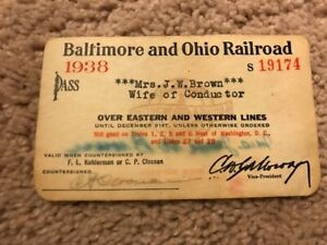 Vintage 1938 Wife of a Conducter Train Baltimore and Ohio Railroad Signed Pass