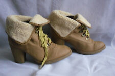 WOMENS GOLVANNI BEIGE LACE UP SYNTHETIC HIGH HEEL ANKLE BOOTS SZ:5/38(WB747)