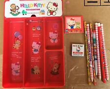 Vintage Sanrio Japan Hello Kitty Pencil Tray With Lid,pencils ,and more