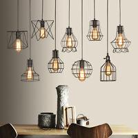 Modern Industrial Caged Metal Ceiling Pendant Light Shade Vintage Filament Bulb