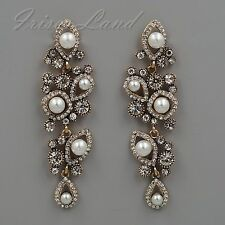 Antique Gold Plated White Pearl Clear Crystal Wedding Drop Dangle Earrings 08198