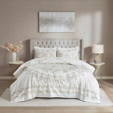 100% Cotton Ivory Taupe Chenille Medallion 3 pc Full Queen King Cal Coverlet set