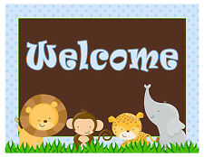 Birthday Party Baby Boy Shower Welcome Sign Blue Jungle A1