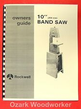 ROCKWELL 10 inch Band Saw Instruction & Parts Manual 0586
