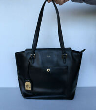 Lauren Ralph Lauren Newbury Modern Pocket Saffiano Shopper Tote Black/Gold