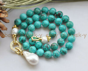 10mm Blue Turquoise & Natural White Edison Baroque Pearl Pendant Necklace 18''