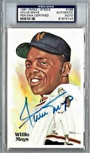 WILLIE MAYS PSA/DNA SIGNED PEREZ STEELE POSTCARD AUTOGRAPH