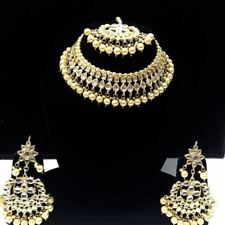 Indian Kundan Jewelry Pearl Gold Plated Traditional Necklace Earrings Tikka Set-