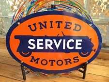 classic UNITED MOTORS SERVICE - 18 gauge HEAVY DUTY steel coated porcelain sign