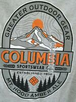 Columbia Mens Gray Small Mountain Back Hit Graphic on Back Crew Neck T Shirt
