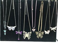 Costume Jewellery Bundle x8 Necklaces Butterfly & Dragonfly Themed Mixed Colours