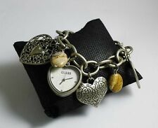 BRAND NEW! LADIES' MATTE STEEL CHARM BRACELET WATCH WITH BOX (MATTE SILVERTONE)