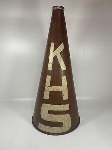 Vintage Cheerleader KHS Megaphone Bullhorn Heavy Fiberboard And Metal Ends