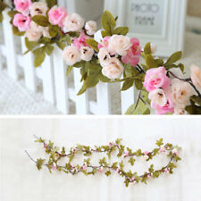 SHABBY CHIC PINK ROSE GARLAND FLOWER VINTAGE STYLE 7FT WEDDING HOME DECORATION