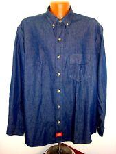 ac6e5f0f44 Dickies Blue Cotton Denim Mens Button Front LS Work Shirt Tag Size XL