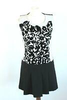 RINASCIMENTO black flowered A-line short sleeveless party woman dress size EU M
