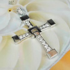 Single Gothic Crystal Snake Chain 45cm - 60cm Silver Cross Pendant Necklace