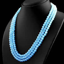 389.00 CTS NATURAL 3 STRAND RICH BLUE CHALCEDONY ROUND SHAPE BEADS NECKLACE