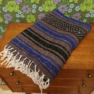 Mexican Dark Grey and Blue Woven Stripy Falsa Yoga Blanket / Throw