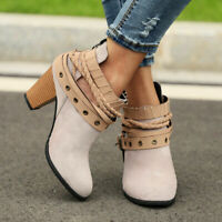 Women's Retro Winter Ankle Boots Strappy Chunky Block Heel Casual Zipper Shoes