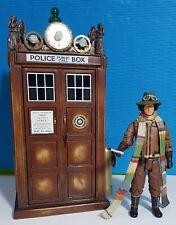 Doctor Who Custom Steampunk Tardis + Custom 4th Dr Figure Flight Control OOAK