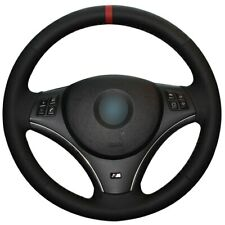 Black Leather Red Marker Car Steering Wheel Cover for BMW E90 325i 330i 335i