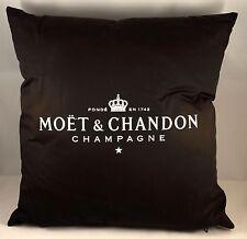 "Champagne Moet & Chandon, Pillow Black Silk Look, ""Glow In The Dark"" 38x38 NEW"