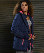 Superdry Ladies' Jacket Tall Sports Puffer Navy Fluro Coral M