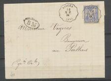 1877 Lettre Sage 25c bleu obl Convoyeur SALCES N.P. 65-PYRENNES ORIENTALES P3703