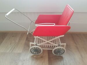 DDR Puppenwagen Puppen Plastik, Kinder, Puppenstube, rot-weiss , ca 20x18x11 cm