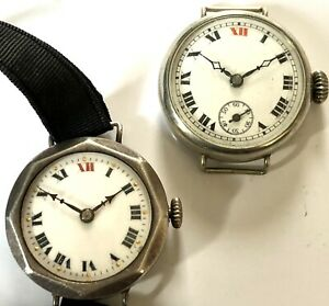2 Antique trench Style watch 1 working WW1 Militaria Army Old Wristwatch Silver