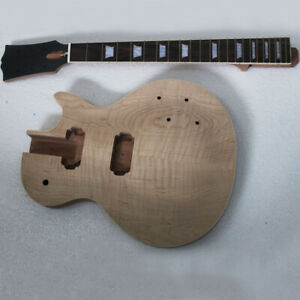 Naughty boy 1 piece mahogany project electric guitar kit with flame maple top
