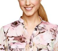 Susan Graver Size M Pink Printed Sheer Chiffon 3/4 Sleeve Y-Neck Blouse
