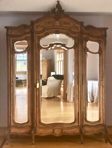 Large 3 Doors Mirrored Antique French Louis XVI 3 Armoire Wardrobe
