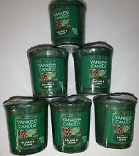 Yankee Candle BALSAM & CEDAR Votive Candles / Lot Of 6