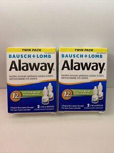 Lot Of 2 Twin Packs Bausch & Lomb Alaway Eye Itch Relief 0.34 Fl. oz, 10/2022