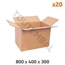 Grand carton à hauteur variable 800 x 400 x 300 mm Simple cannelure (par 20)