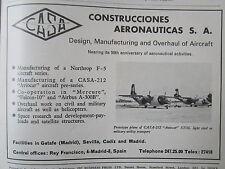 4/1972 PUB CASA SPAIN AVION CASA -212 AVIOCAR STOL TRANSPORT ORIGINAL AD