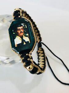 Pulsera Jesus Malverde doble tejido en nuevo color negro con kaki hecha a mano