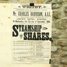 More details for 1896 whitby auction poster steamship shares captain f nesfield + swatman 20x30