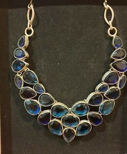 SAPPHIRE Coloured 925 INDIAN SLIVER NECKLACE