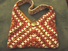 CROCHET GRANNY SQUARE PINK & RUST HOBO BAG FABRIC LINED